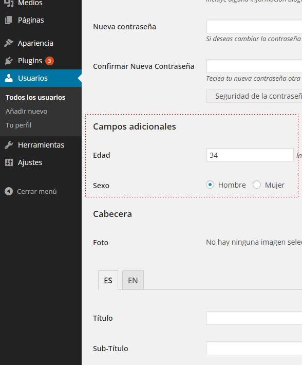 campos adicionales perfil usuario en el panel de control